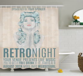 Retro Night Party Woman Shower Curtain