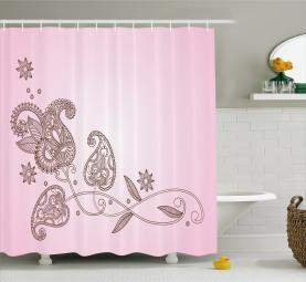 Patterned Leaf Motif Shower Curtain
