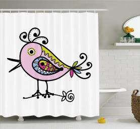 Hand-drawn Cheerful Character Shower Curtain