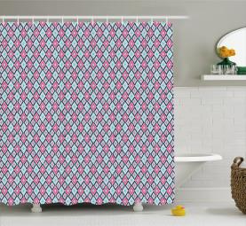Boho Asian Rhombus Pastel Shower Curtain
