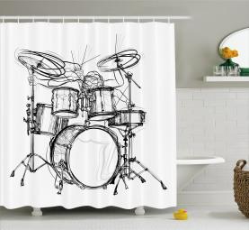 Schlagzeuger-Gekritzel-Kunst Duschvorhang