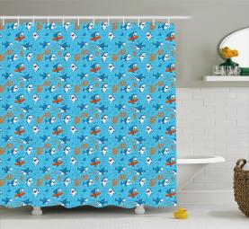 Underwater Funny World Shower Curtain