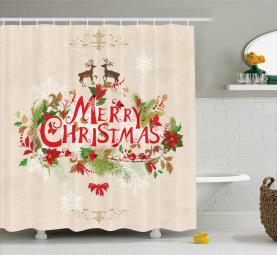 Frohe Weihnachten mit Blumen Duschvorhang