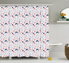 Hand Drawn Sailor Theme Shower Curtain