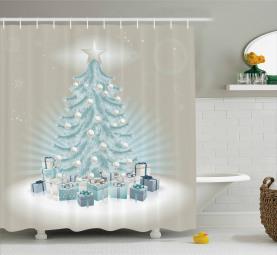 Weihnachtsbaum-Geschenke Duschvorhang
