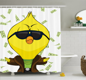 Badass Chick with Dollars Shower Curtain