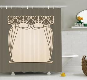 Floral Arch Shape Shower Curtain