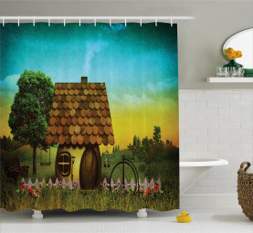 House on Green Grass Trees Shower Curtain