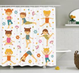 Cartoon Exercising Kids Shower Curtain