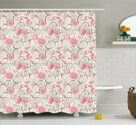 Doodle Swirls and Hearts Shower Curtain