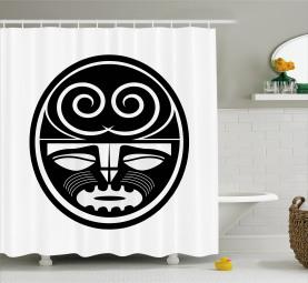 Schwarzes Maori-Masken-Design Duschvorhang