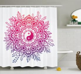 Floral Yin Yang Sign Shower Curtain