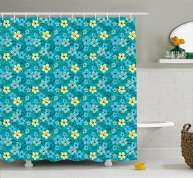 Exotic Blooming Flowers Shower Curtain