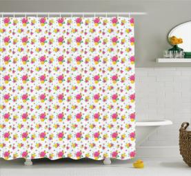 Multi Petal Rose and Bud Shower Curtain