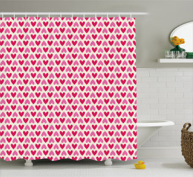 Pinkfarbene Herzen Duschvorhang