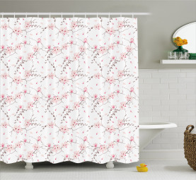 Falling Magnolia Pattern Shower Curtain