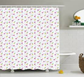 Flamingo and Pineapple Shower Curtain