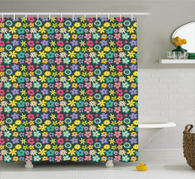 Scribbled Floral Buds Shower Curtain