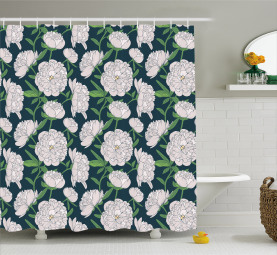 Nocturnal Peony Concept Shower Curtain