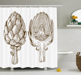 Engraving Style Slice Shower Curtain