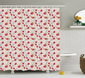 Stylized Poppy Dandelion Shower Curtain