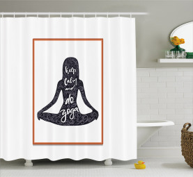 Silhouette Girl in Lotus Pose Shower Curtain