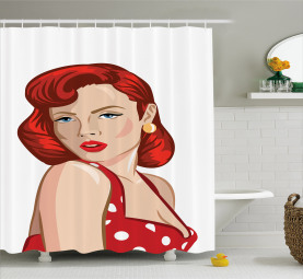 Rolled Hair Ginger Shower Curtain
