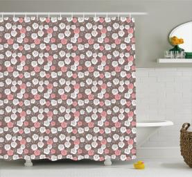 Pastel Valentines Flowers Shower Curtain