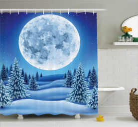 Snowy Hills Pattern Shower Curtain