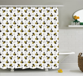 Honey Bees Childish Cartoon Shower Curtain