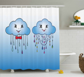 Doodle Clouds with Rain Shower Curtain