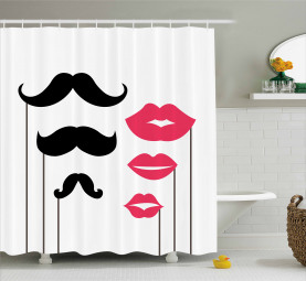 Mustache and Lips Motifs Shower Curtain