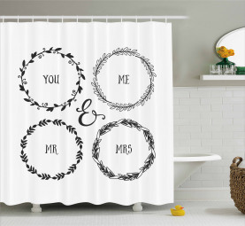 Hand Drawn Wreath Motifs Shower Curtain