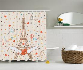 Eiffel-Liebes-Vögel Duschvorhang