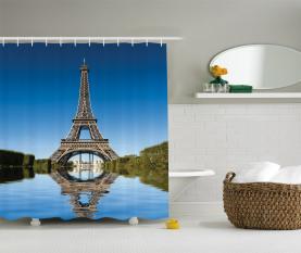 Eiffel-Wasser-Reflexion Duschvorhang