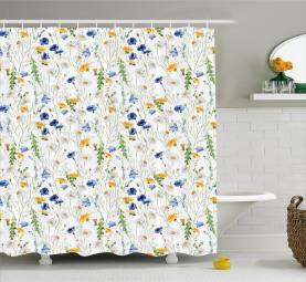 Mohnblumen-Gänseblümchen ländlich Duschvorhang