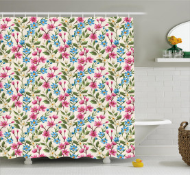 Blooming Flowers Bouquet Shower Curtain