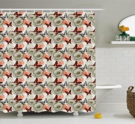 Poppies and Butterflies Shower Curtain