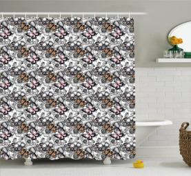 Monarch Butterfly Retro Shower Curtain