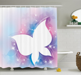 White Floral Magical Shower Curtain