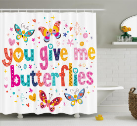 Quote Hearts Cartoon Shower Curtain