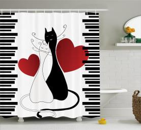 Romantisches Paar-Haustier-Kätzchen Duschvorhang