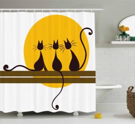 Drei schwarze Katzen Katzenartig Duschvorhang