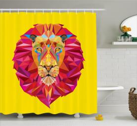 Geometrisches Löwengesicht Duschvorhang