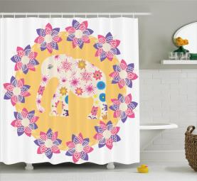 Wildes Tier Blumen Duschvorhang
