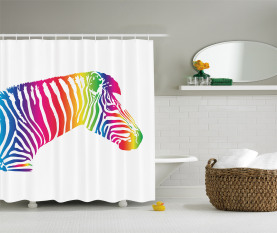 Zebra bunte gestreift Duschvorhang