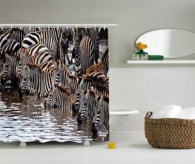 Zebra-Wildebeest-Herde Duschvorhang