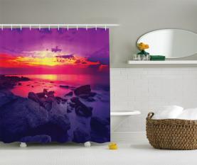 Sonnenuntergang über dem Meer bewölkt Duschvorhang
