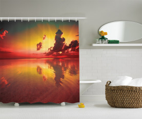 Sonnenaufgang Wasser Reflexion Duschvorhang