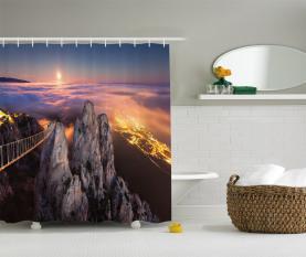 Vollmond Sonnenuntergang Alpen Duschvorhang